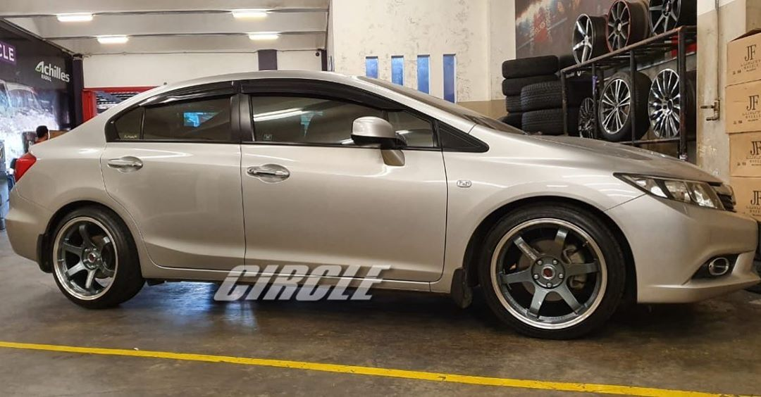 Honda Civic On TE37 SL Dark Gun Metal Machine Lip+Milling Letter 18x8.0/9.0 5x114.3 +38 +35