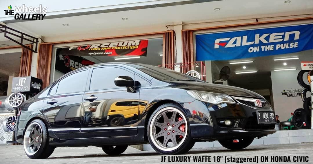 Honda Civic On WAFFE 18x8.5/9.5 5x114.3 +40 +30 By JF Luxury Wheels