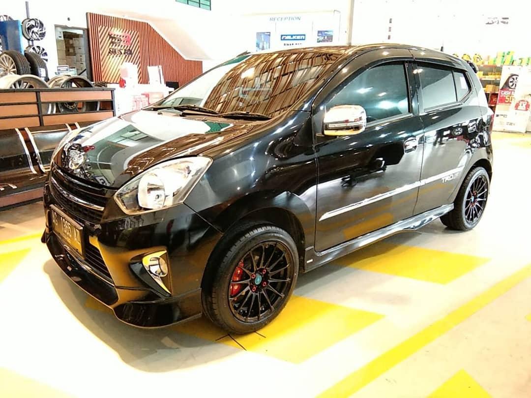 Toyota Agya On JFF-2 Matte Black 15x7.0 4x100 +35 By JF Luxury Wheels