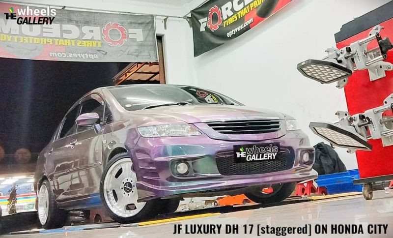 Honda City On EUROLINE DH Silver Machine Face/Lip+Chrome Rivets 17x8.5/9.5 8x100/114.3 +40 +30 By JF Luxury Wheels